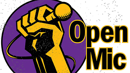 Graphic fist holding a microphone and Open Mic text